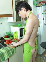 Teen boy Kevin sizzles in the kitchen